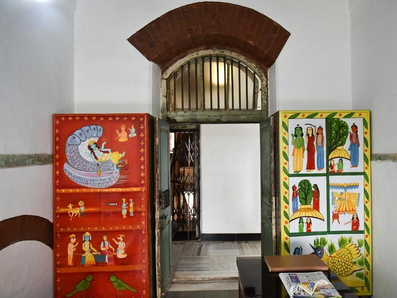 A 1947-built lodging-and-boarding house near Crawford Market, New Vasantashram, is adapting to the times by refashioning itself into an alternative cultural venue. Seen here are Godrej cupboards painted with images of deities at the entrance to the prayer room (Story: Soma Das) (Photo: Aalok soni/ht)