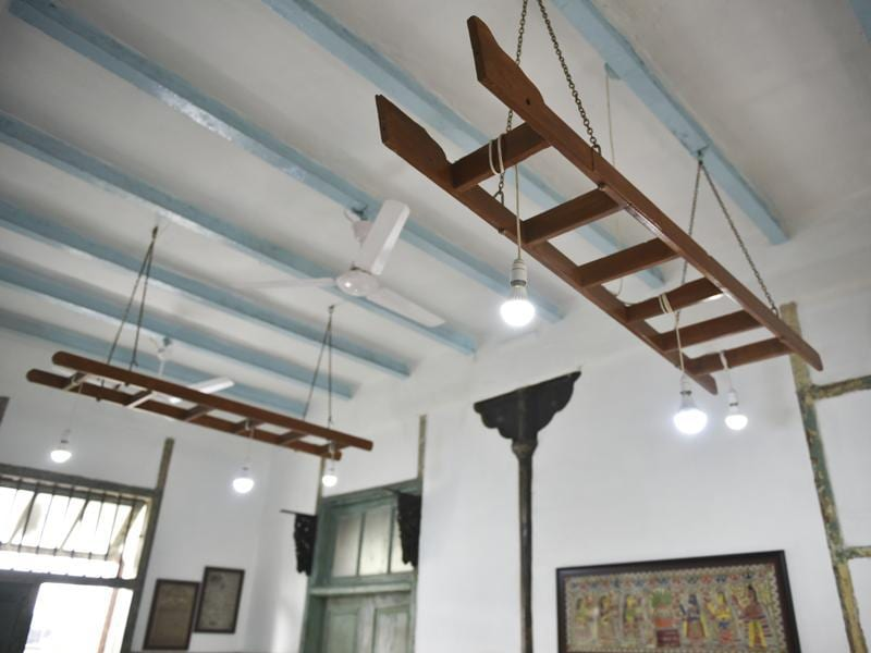 Ladders have been attached to the ceiling to hang lights (Story: Soma Das) (Photo: Aalok soni/ht)