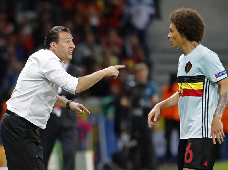 Belgium head coach Marc Wilmots and Belgium's Axel Witsel.  (Reuters Photo)