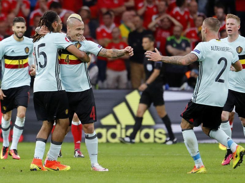 Belgium's Radja Nainggolan celebrates scoring their first goal in the first half of the Euro 2016 quarterfinal match between Belgium and Wales. Belgium went on to lose the game 3-1.  (Reuters Photo)