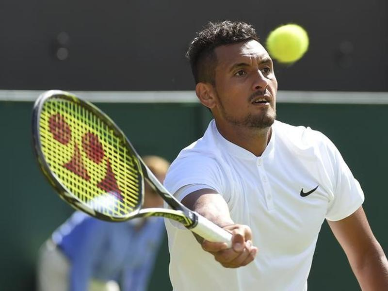 Australia's Nick Kyrgios against Germany's Dustin Brown on the fifth day of the 2016 Wimbledon Championships.  (Reuters Photo)