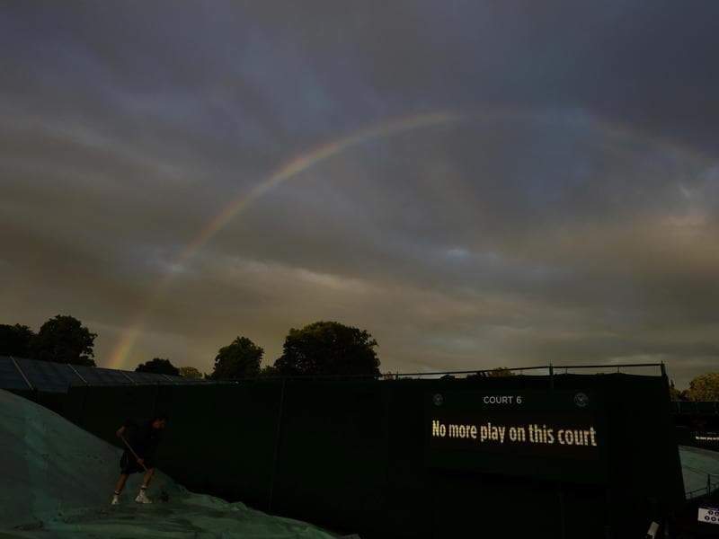 A general view of a rainbow over Wimbledon. (Reuters Photo)