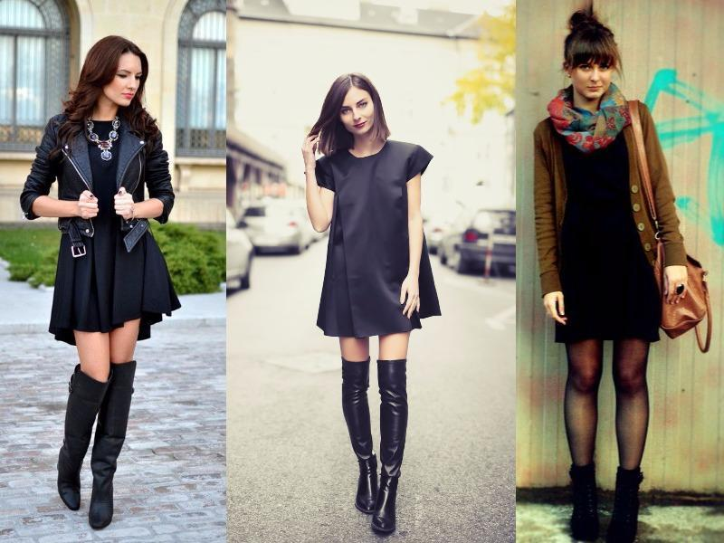 Pair a little black dress with knee-high boots. Top it off with a coat that covers most of your outfit to protect it from the elements. (Pinterest)