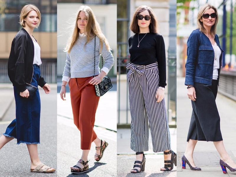 Whether you reach for casual jeans or dressed-up trousers, try some cropped pants so they don't drag on the damp ground. (Pinterest)