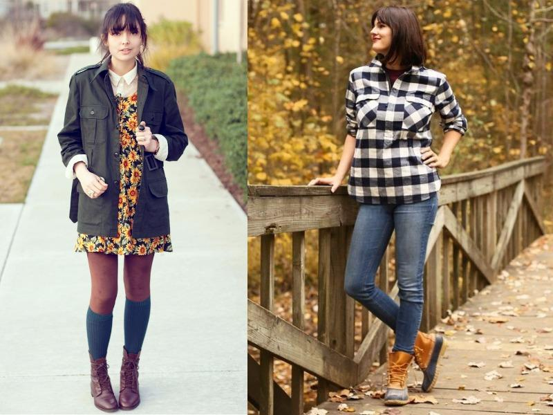 For a lightweight alternative to traditional knee-high rain boots, reach for a short duck boot. They look awesome under skirts and jeans. (Pinterest)