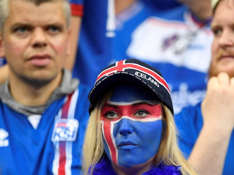 An Iceland supporter looks on with sadness as the game is lost . (AFP  photo)