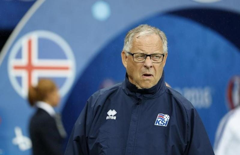Iceland joint head coach Lars Lagerback reacts to the 'brain less' performance. (reuters  photo)