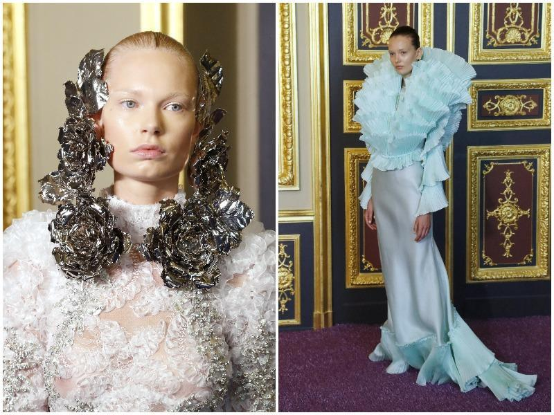 Francesco Scognamiglio: Creativity was also on show at Francesco Scognamiglio, with a collection of garments in soft colors and with combinations of textural effects. Some models had metallic flowers framing their faces at the Francesco Scognamiglio haute couture show. (AFP)