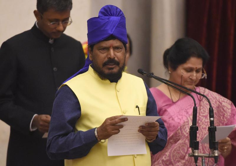 Indian member of Parliament Ramdas Athawale takes the oath as minister of state. (AFP)