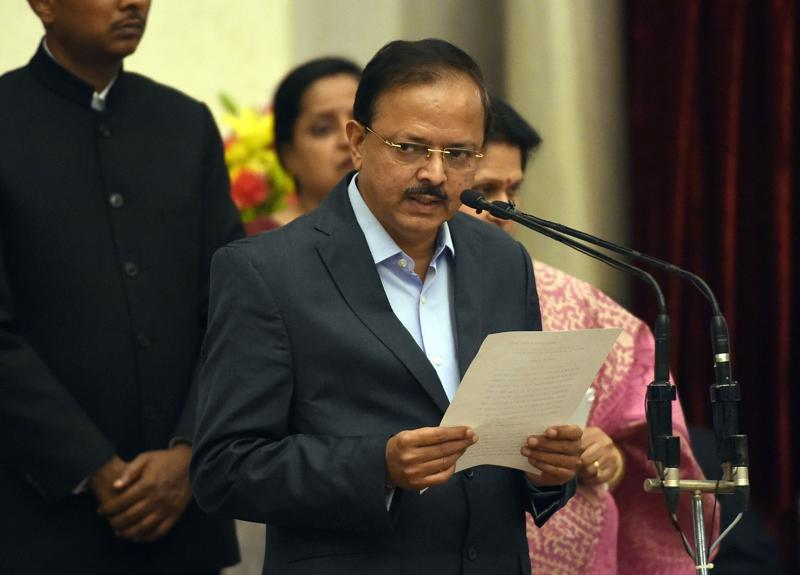 Bharatiya Janata Party (BJP) politician, Subhash Ramrao Bhamre takes the oath as minister of state. (AFP)