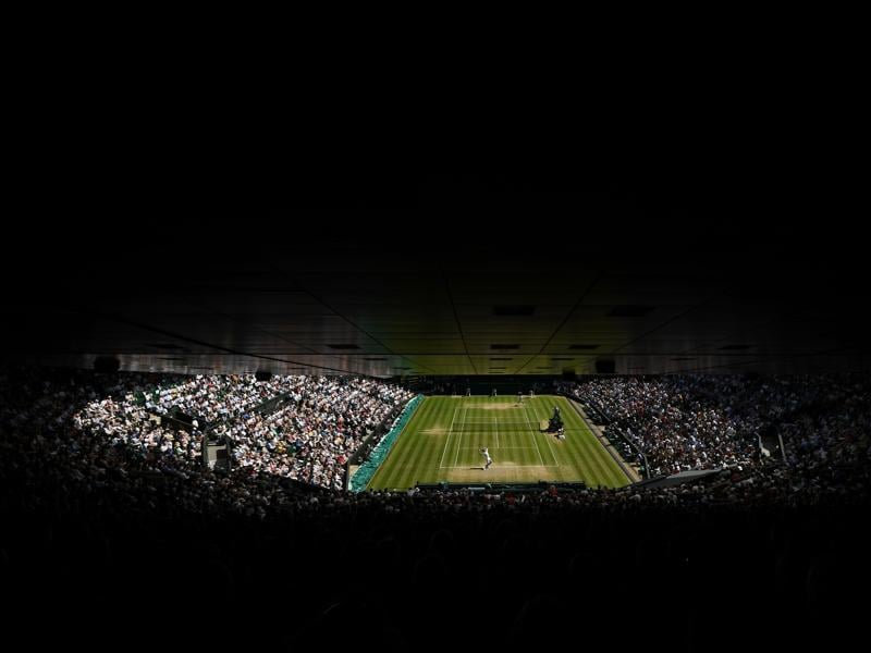 A view of Centre Court during Federer's match against Cilic. (AFP)