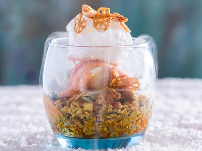 Doctor Strange - egg bhurji with ketchup caviar, dehydrated lotus stems with cheese chilli egg white ice cream at Chemistry 101 (Photo: Chemistry 101)