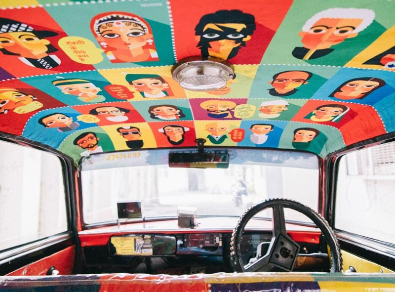 Interiors of a taxi revamped earlier by Taxi Fabric (Photo: taxi fabric)