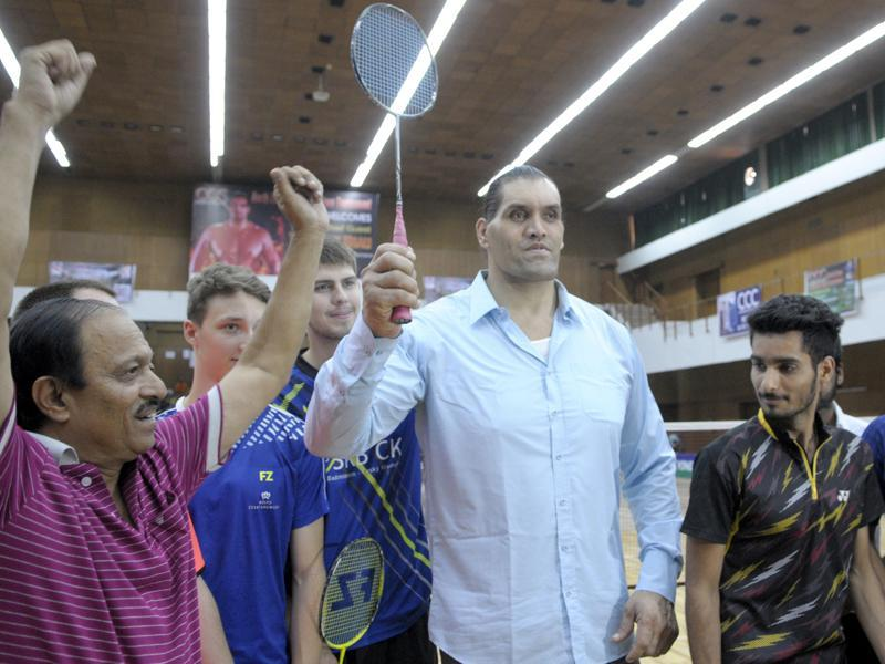 Wrestling-entertainment star Dalip Singh Rana, better known as The Great Khali, at the opening of a badminton tournament in Chandigarh on Wednesday. (Anil Dayal/HT Photo)