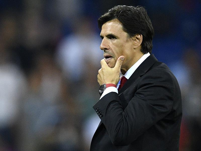Wales' coach Chris Coleman reacts during their Euro 2016 match against Portugal. (AFP Photo)