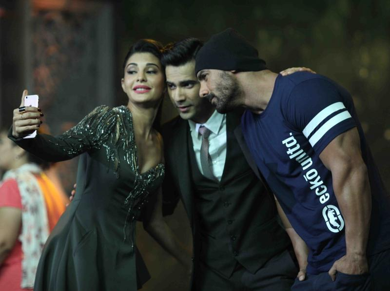 John Abraham, Jacqueline Fernandez and Varun Dhawan on the sets of India's Got Talent 7 final to promote upcoming film Dishoom. (IANS Photo)