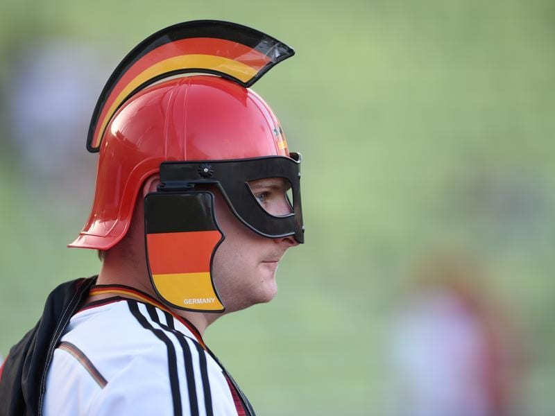 A German supporter attends the public screening of the Euro 2016 semifinal football match at the Olympic stadium in Munich, southern Germany. (AFP Photo)