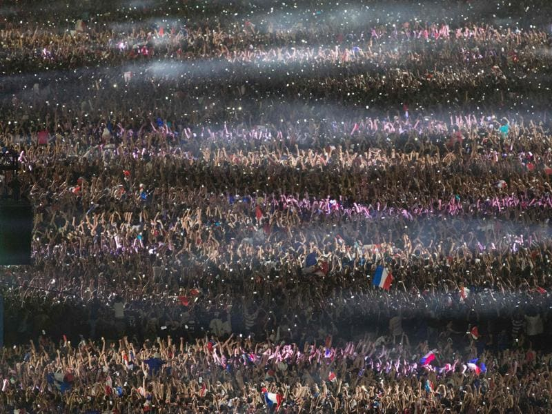 An aerial picture shows France's supporters celebrating after France won the Euro 2016 semifinal football match. (AFP Photo)