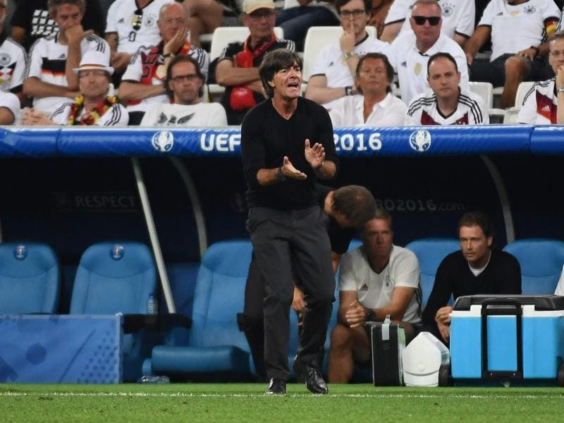 Germany's coach Joachim Loew reacts during the Euro 2016 semifinal football match. (AFP Photo)