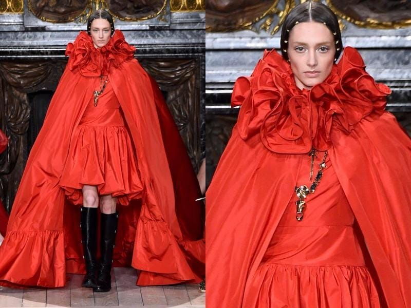 Valentino: The Italian fashion house marked the 400th anniversary of the death of William Shakespeare in its own unique way, with an Elizabethan-inspired collection. Check out this dress with ruffle neck and oversized cape. (AFP)