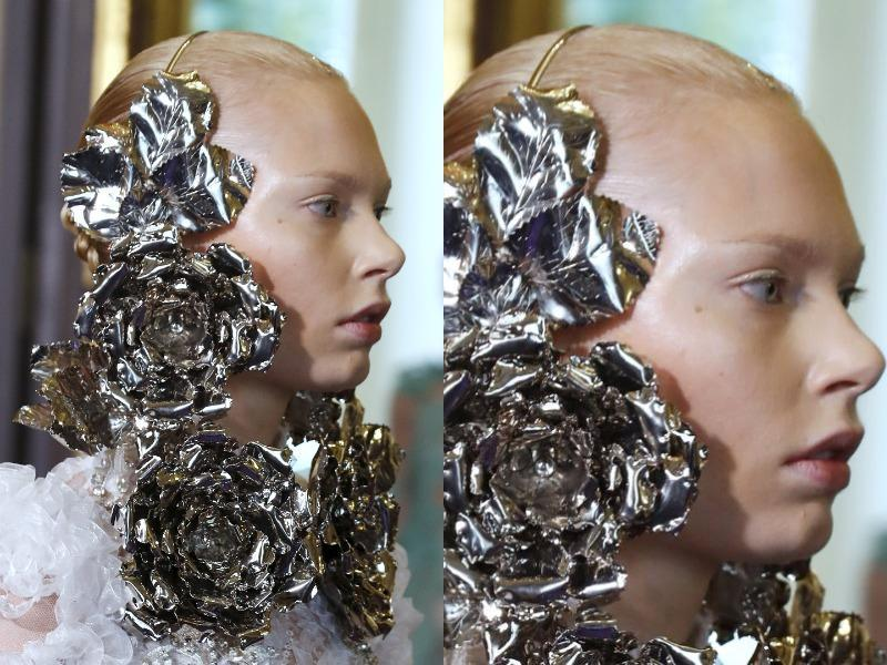 Francesco Scognamiglio: The label stood out with its striking silver body jewelry, planting oversized roses on either side of the face. (AFP)