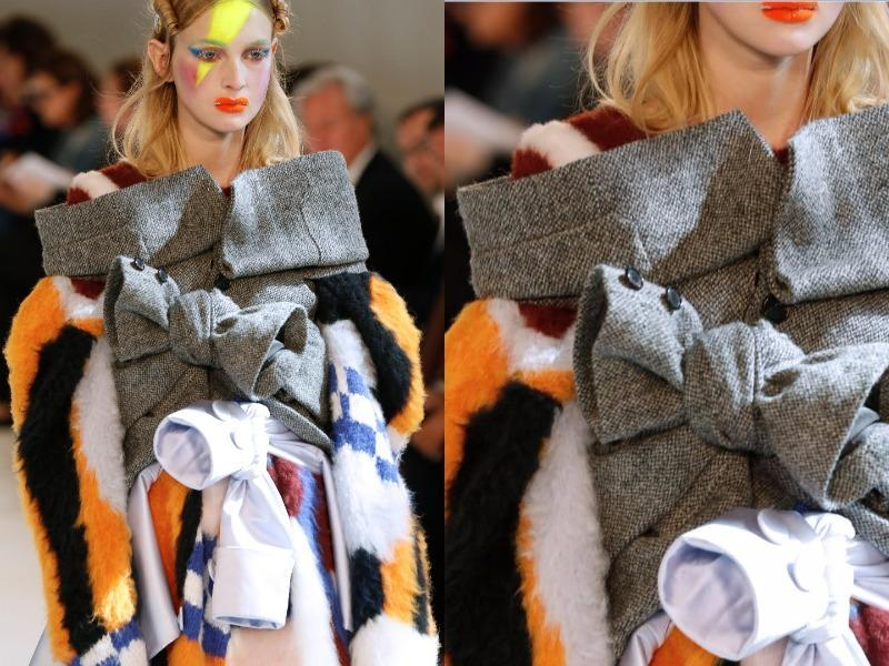 Maison Margiela: While historical dress was a major theme at Maison Margiela, John Galliano also chose to mix textures and fabrics in all kinds of combinations. Fabrics were layered one over the next and tied with bows, creating a giant patchwork effect. (AFP)