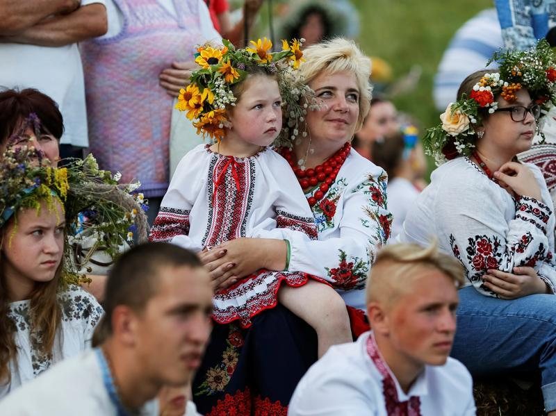 People attend a celebration on the traditional Ivana Kupala (Ivan the Bather) holiday in Kiev, Ukraine.  (REUTERS)