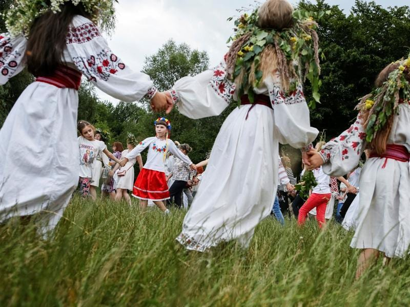 Children take part in a celebration on the traditional Ivana Kupala. (REUTERS)