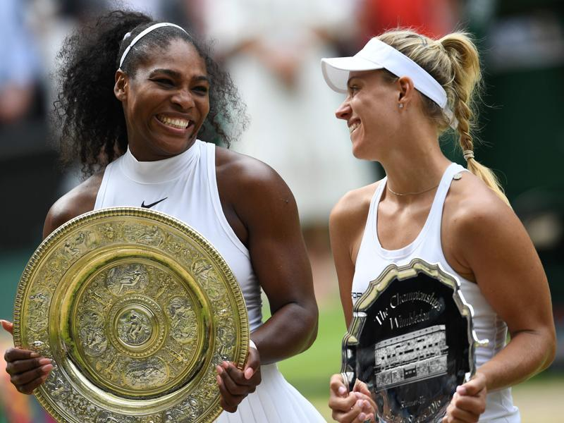 Serena Williams (L) poses with the Venus Rosewater Dish next to runner-up Angelique Kerber after their final. (AFP)