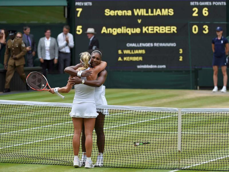 Serena and Kerber embrace at the net after the match. (REUTERS)