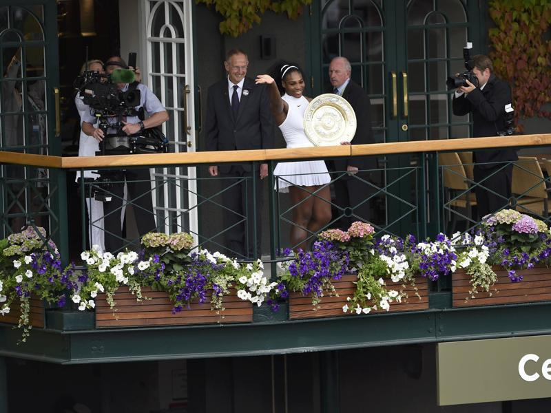 Serena acknowledges fans on the balcony outside Centre Court. (REUTERS)