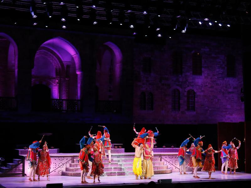 Indian dancers perform at a musical show, The Merchants of Bollywood, in Lebanon. (AFP)