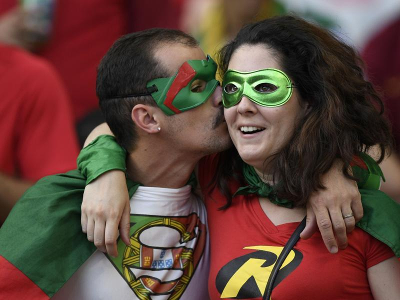 Portugal fans wait for the start of the Euro 2016 final football match at the Stade de France in Saint-Denis, north of Paris. (AFP Photo)
