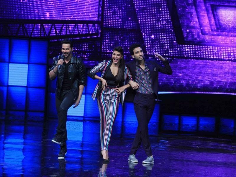 But hey! We didn't forget the leading lady of course. Jacqueline Fernandez, Varun and Raghav Juyal on the sets of reality show Dance + season 2, to promote upcoming film on Monday.  (IANS)