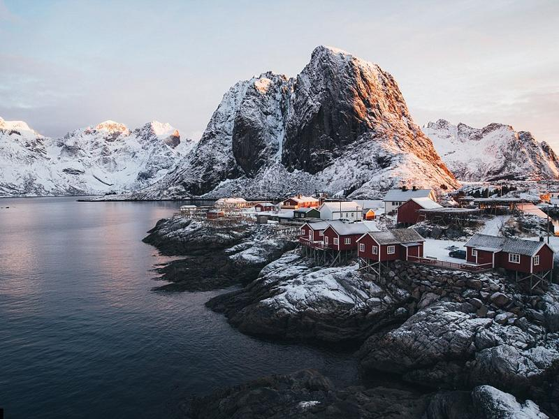 No matter what the season, he's happy to explore even the most remote of places, like the small fishing village of Hamnøy on the Norwegian Lofotens islands. (Instagram)