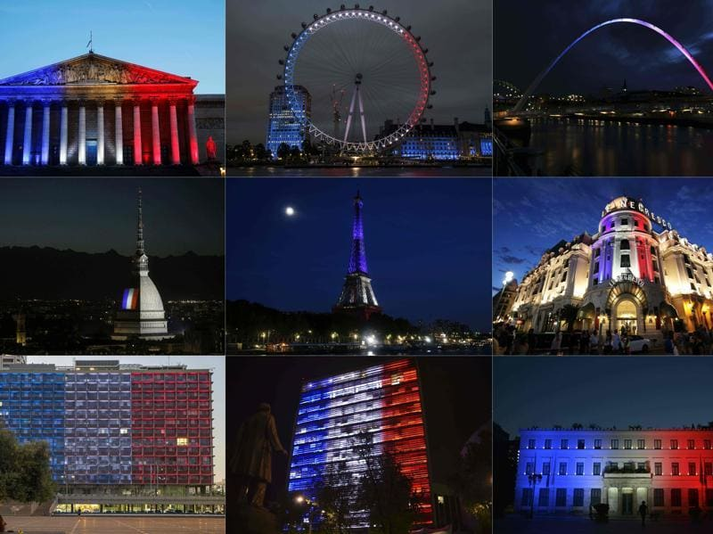 Combination picture of monuments across the world lit up in colours of the French national flag to honour the victims of Nice attack. (AFP Photo)
