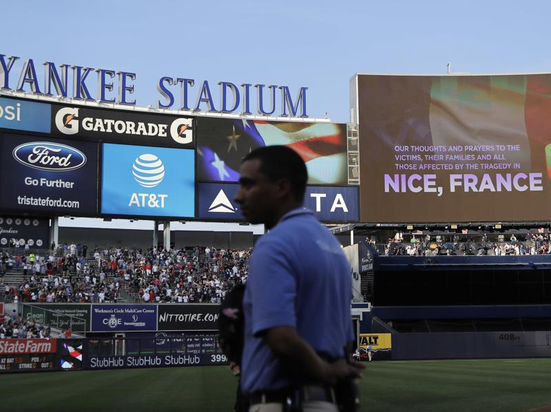 The scoreboard at Yankee Stadium displays a message in memory of the victims of the truck attack in Nice. (AP Photo)