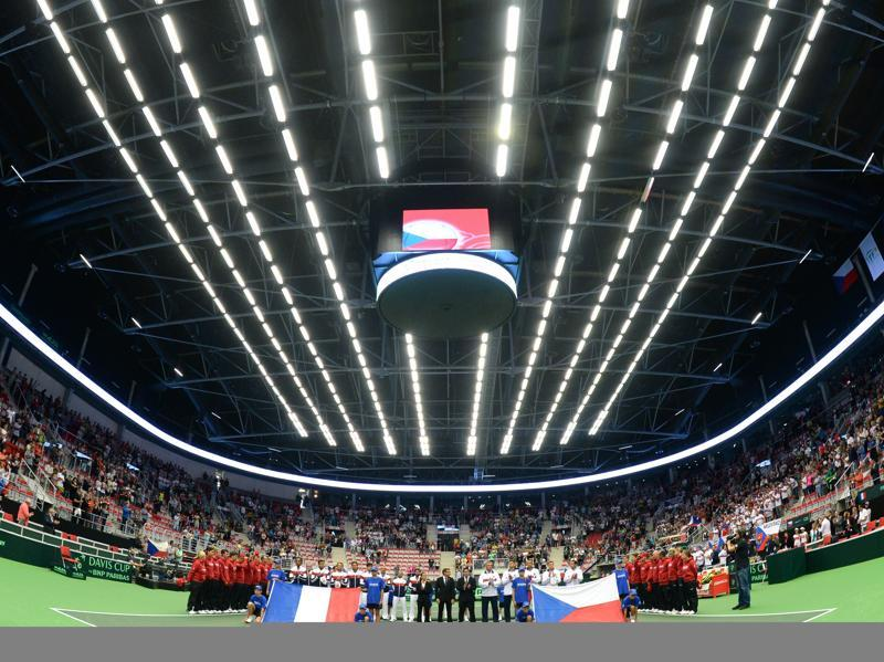 Members of French and Czech Davis Cup teams observe a minute of silence for the victims of the terror attack in Nice during the International Tennis Federation Davis Cup quarterfinal opening ceremony in Trinec, Czech Republic.  (AFP Photo)