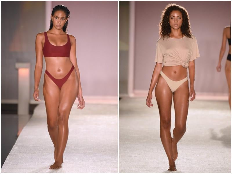 Models walk down the runway during the Keva J swimwear show. (AP Photos)