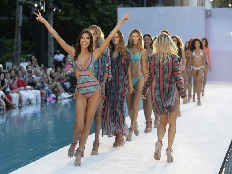 Not just the bikinis and the monokinis, designers showcased various sarong designs as well. (AP)