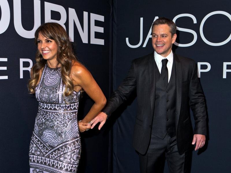 Matt Damon and his wife Luciana Barroso arrive for the Universal Pictures movie premiere of Jason Bourne at Caesars Palace hotel-casino in Las Vegas, Nevada. (REUTERS)