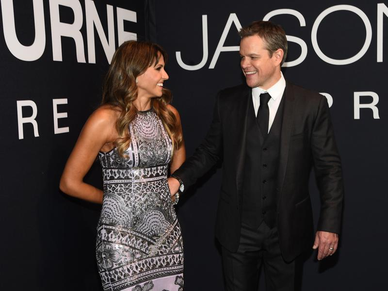 Matt Damon and wife, Luciana Barroso, in a candid shot at the Jason Bourne Las Vegas film premiere at The Coliseum at Caesars Palace. (Powers Imagery/Invision/AP)