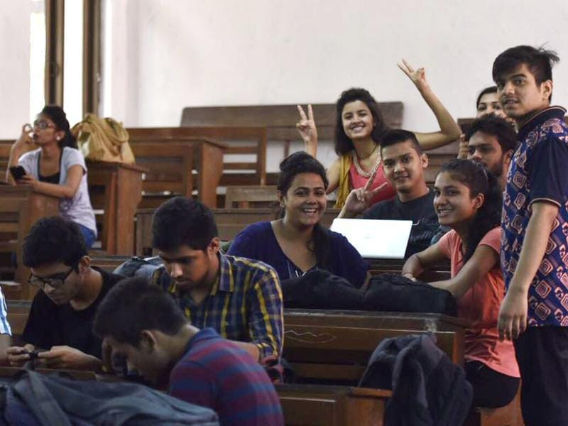 The joy of having made it to the reputed university was visible on several happy faces.  (Saumya Khandelwal/HT photo)