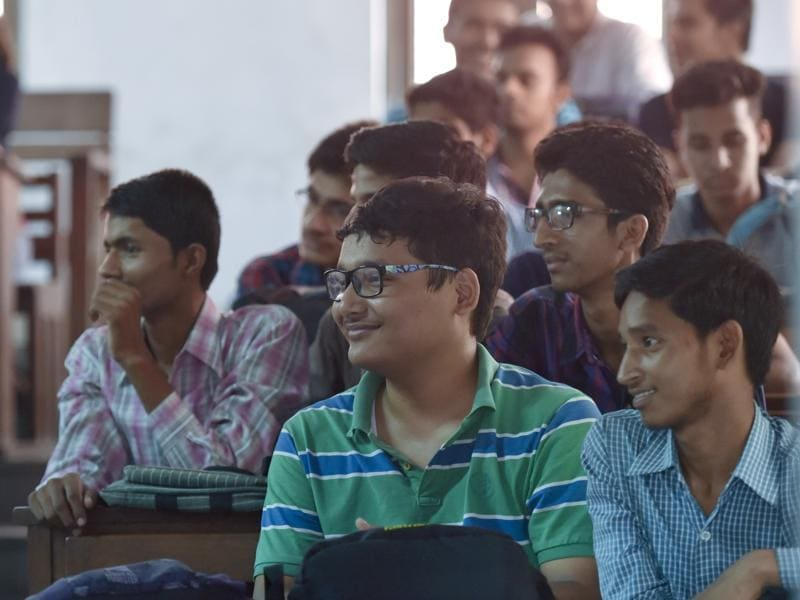 The campuses were abuzz with excited freshers.   (Saumya Khandelwal/HT PHOTO)