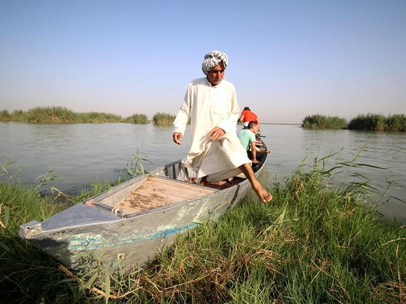 An Iraqi man gets off a boat. The marshlands once stretched across some 20,000 square kilometres (7,700 square miles), but they were devastated after Saddam ordered them drained in the 1990s to stop them being used as hideouts by Shiite guerrillas opposed to his regime. (AFP)