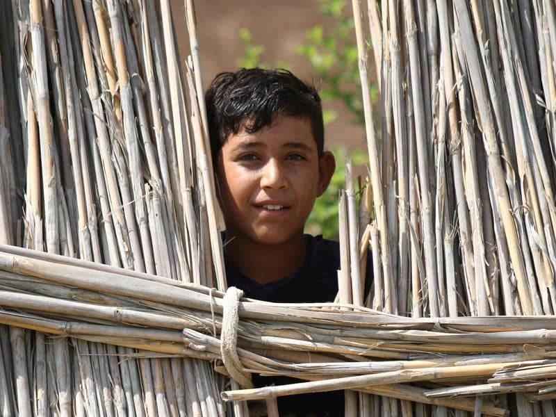 An Iraqi boy looks on from behind a fence. UNESCO has named Iraqi marshlands once ravaged by dictator Saddam Hussein as a World Heritage Site, a bright spot for a country where jihadists have repeatedly sought to wipe out history.  (AFP)