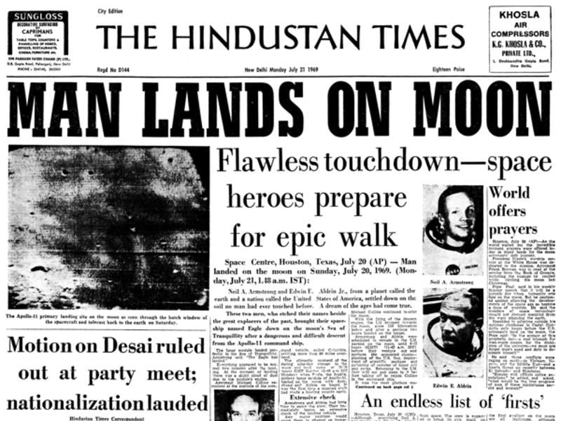 "On July 20, 1969, two US astronauts became the first humans to set foot on moon in what was then dubbed as a ""giant leap for mankind"". Here is a snapshot of the Hindustan Times' July 21, 1969 edition splashing the success across the front page.  (NASA)"