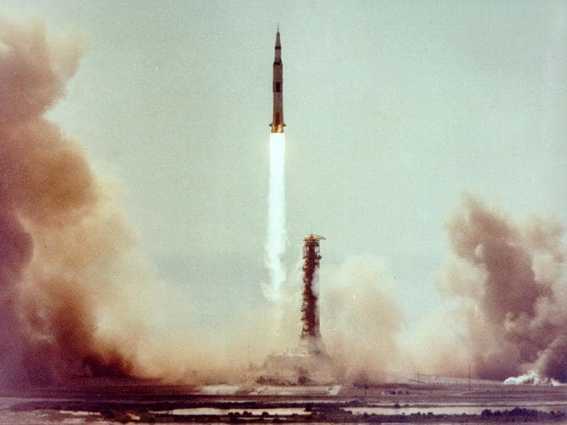 The Saturn V launch vehicle carrying the astronauts and lunar module lifted off at 8:32 am CDT, July 16, 1969, from launch complex at the Kennedy Space Center.  (NASA)