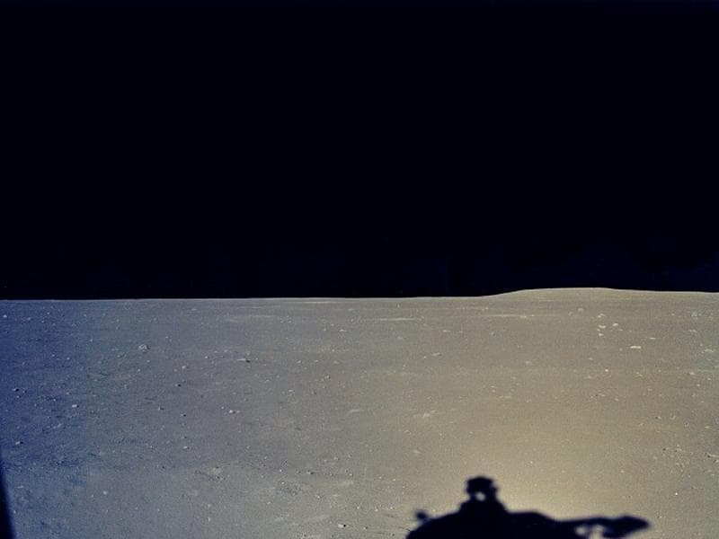 A view of the moon surface from lunar module's window just after landing.  (NASA)