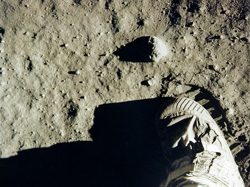 Aldrin's boot and footprint on lunar soil. This iconic image dominated magazine covers for years.  (NASa)